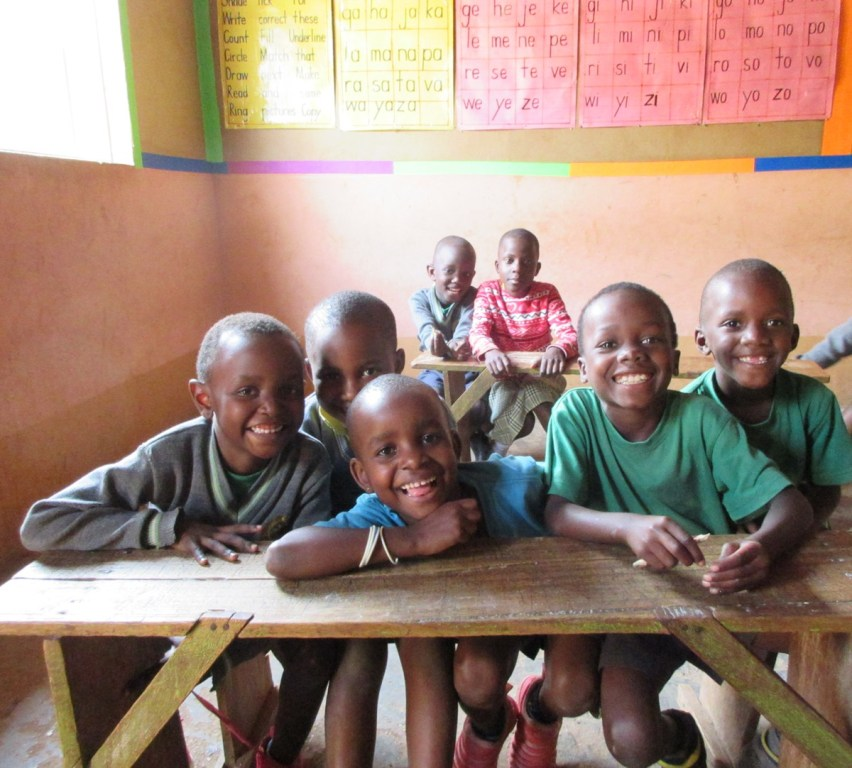 Some of the pupils from the nursery school class during one of their literacy classes