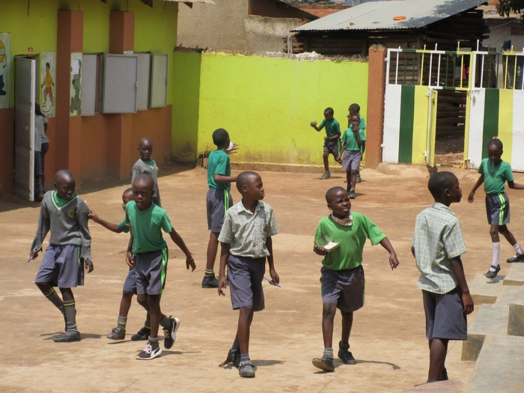 Pupils playing on the school compound