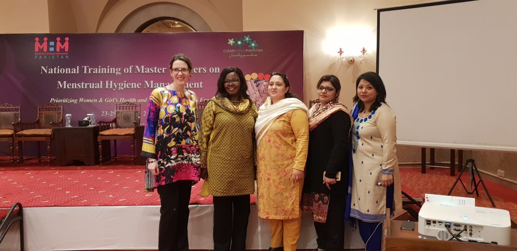 Trainers of TOT Workshop L-R: Alisa Jones of WSSCC Asia Regional Office, Virginia Kamow of WSSCC Pakistan Office , Afshan of RMF Pakistan, Sumera Javed of HANDS Islamabad and Deepa Shakia of ERM, Nepal.