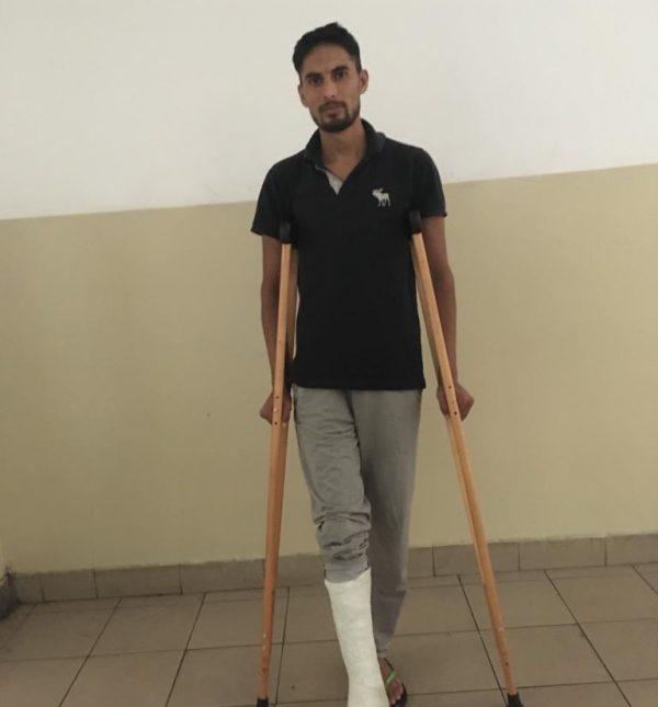 Ali Usman after receiving his cast