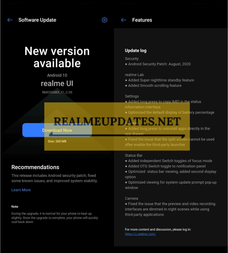 Realme 5 August 2020 Security Patch Update Screenshot - Realme Updates