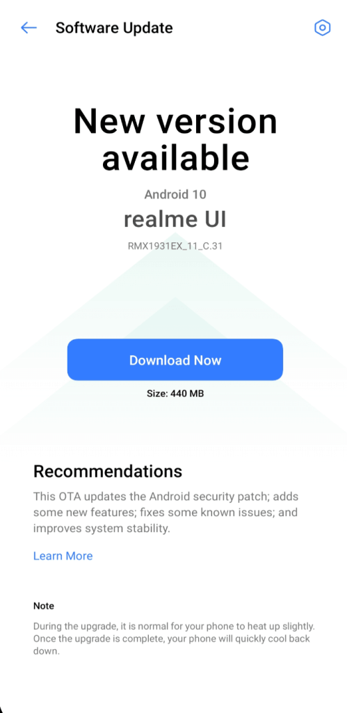 Realme X2 Pro August 2020 Security Patch Update Screenshot - Realme Updates