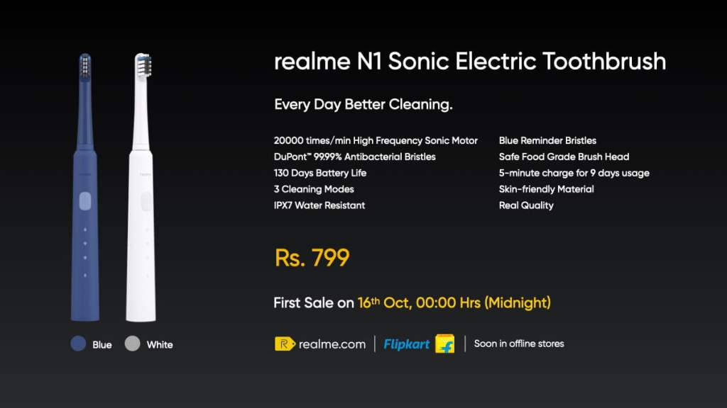 Realme N1 Sonic Electric Toothbrush Launched: Specification, Colors, Features, Availability, Price in India & More - Realme Updates