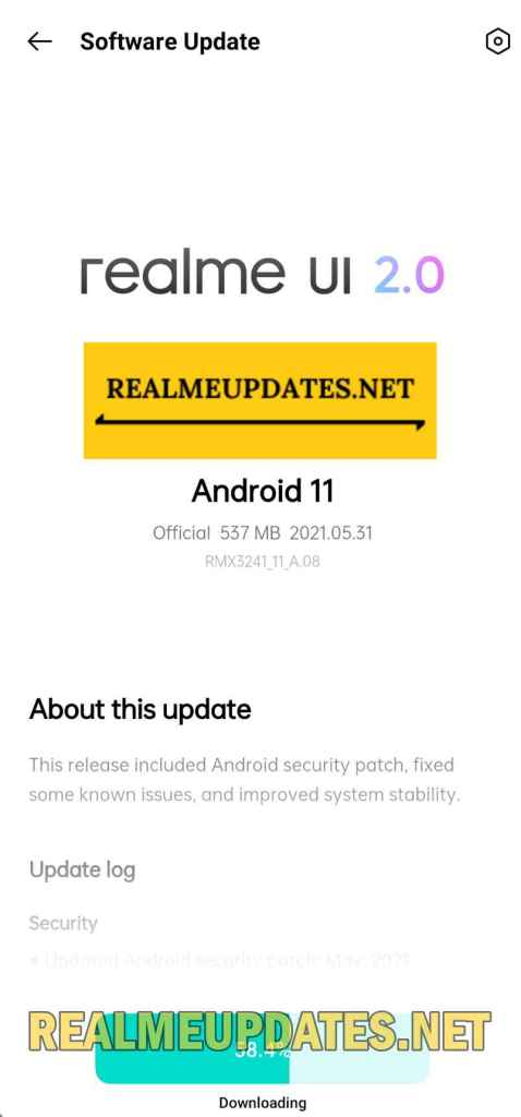 Realme 8 5G May 2021 Security Update Screenshot - Realme Updates