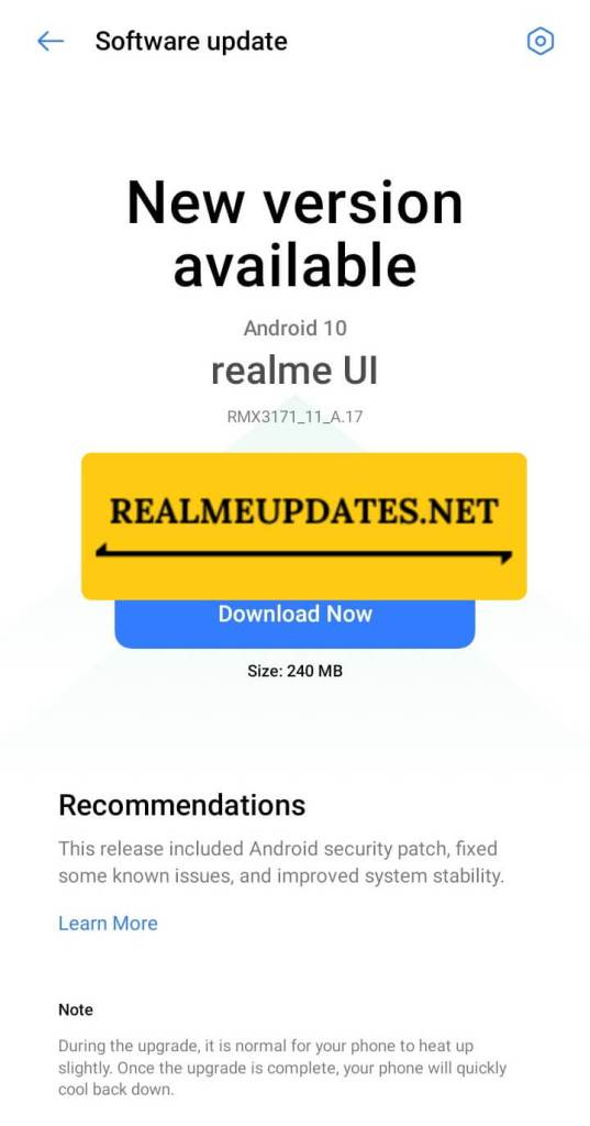 Realme Narzo 30A May 2021 Security Update Screenshot - Realme Updates