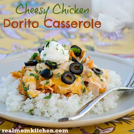 Cheesy Chicken Dorito Casserole labeled