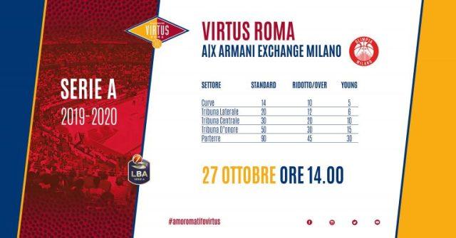 Virtus Roma vs Olimpia Milano, domani aprono le prevendite