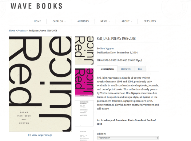 screenshot of Hoa Nguyen's Red Juice page at the Wave Books site