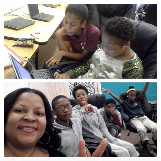 "5th grade KIPP Scribe, Jordyn, helps her fellow 5th grade Scribe, Emily with her story during writing lab at KIPP Strive Academy. And below, Program Director Kalin Thomas takes a ""silly"" break with the 7th grade KIPP Scribes: Tyrique, Jayla, Caleb and Kai."
