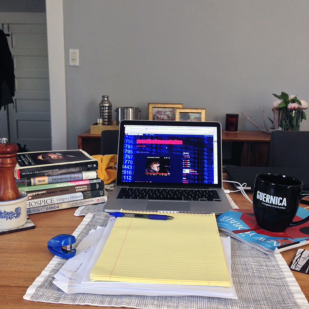 A photograph of Justin Taylor's desk