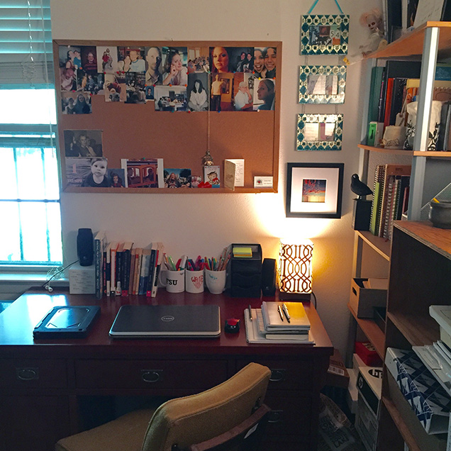 A photograph of the desk of Chelsea Laine Wells