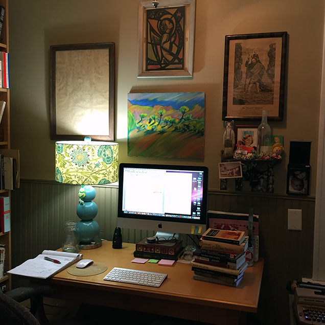 A photograph of the desk of Christine Rice