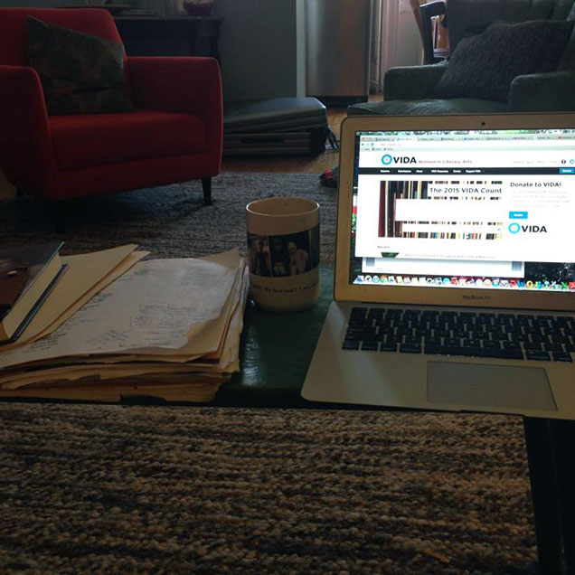 a photograph of the desk of poet Lynn Melnick