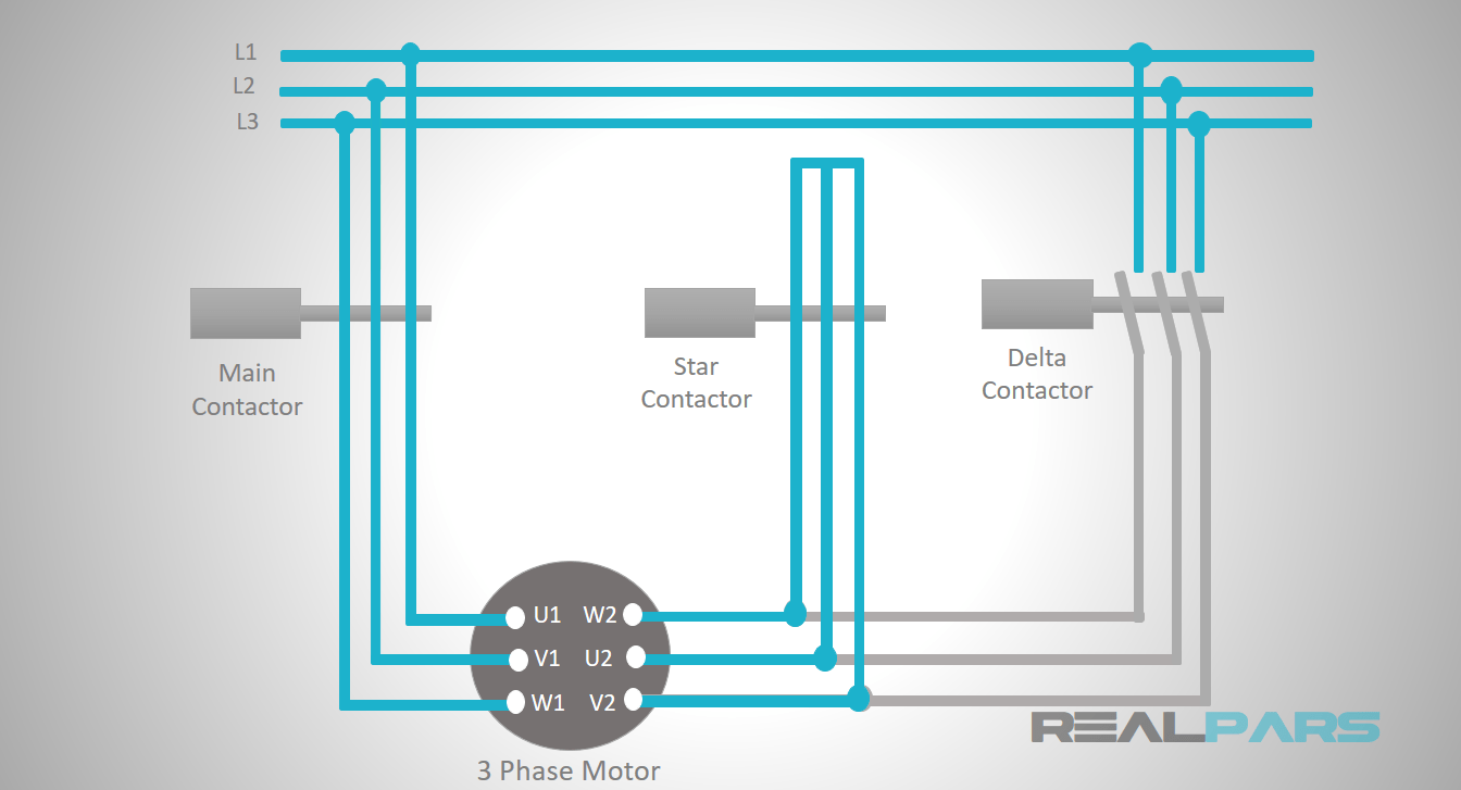 hight resolution of so when the main and star contactors are energized at the same time the connection will be in star and when the main and delta contactors are energized the