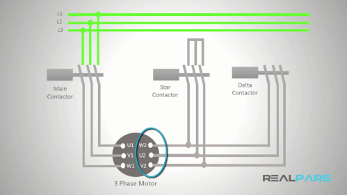 small resolution of to connect the motor windings in delta just as you did for the star connection you should first wire the three main contacts of the contactor to the right