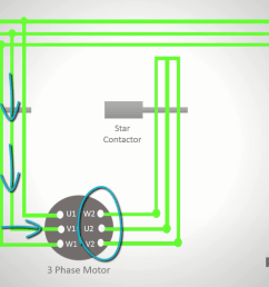 now let s see how you can connect the motor windings in delta to do this you need to add another contactor i ll call this the delta contactor  [ 1366 x 768 Pixel ]
