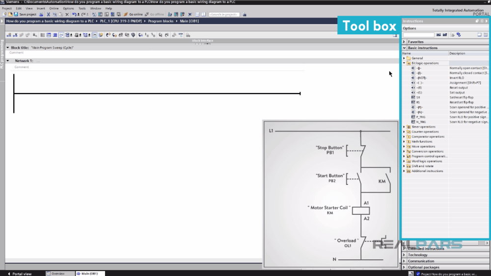 medium resolution of let s start converting our simple wiring diagram to the plc program in a step by step format i m using the siemens tia portal as the plc programming