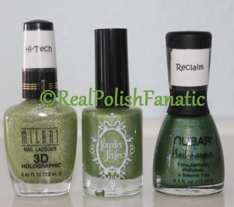 Comparison of Milani Hi-Tech, Powder Perfect Mad As AMarch Hare, Nubar Reclaim