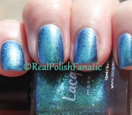 Lacquester Pornflakes Topcoat Northern Lights over Blackheart Beauty Blue Iridescent