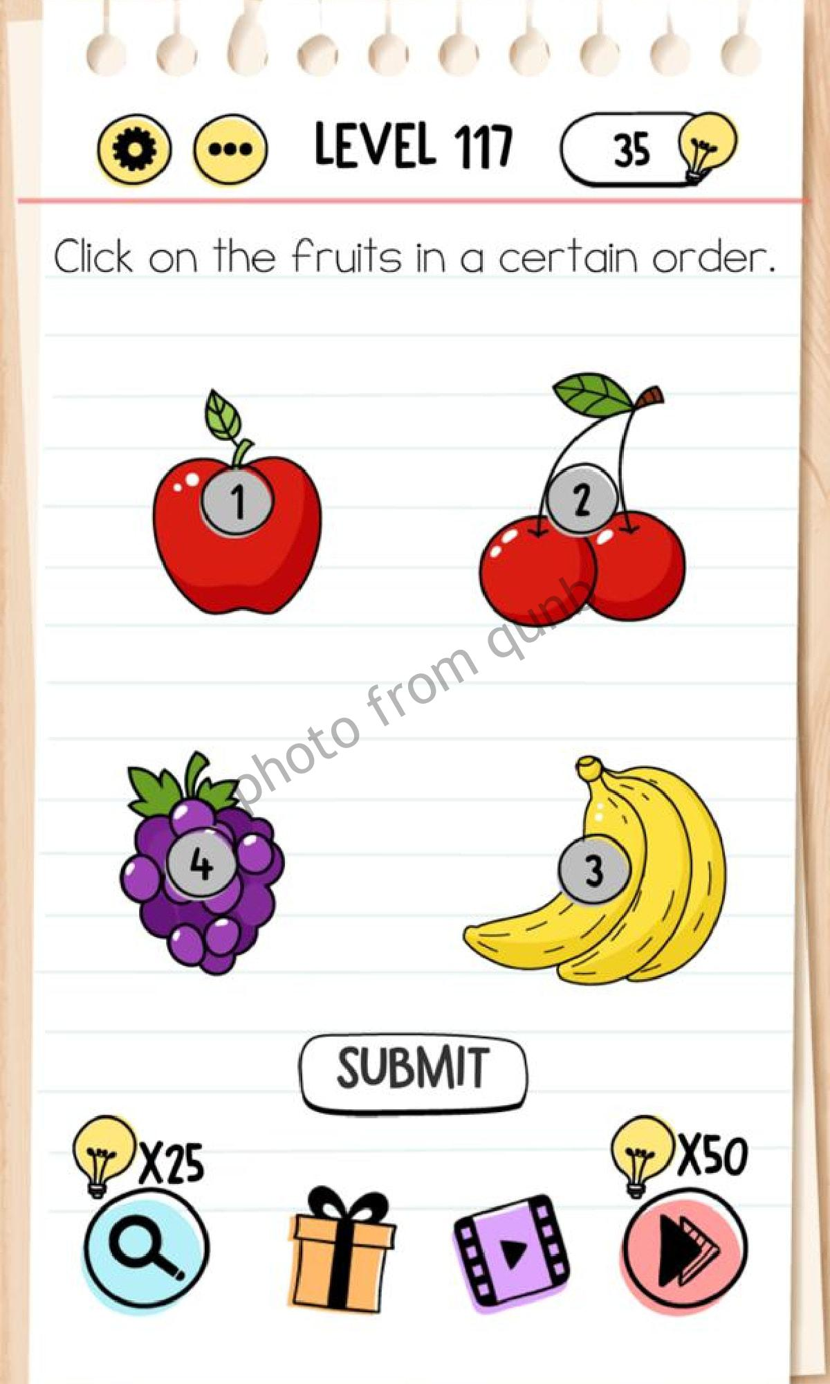 Brain Test Level 116 : brain, level, Brain, Level, Click, Fruits, Certain, Order, Answers, Solutions