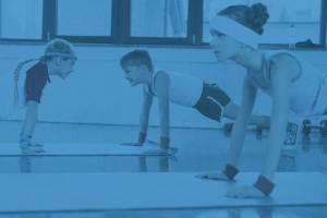 Kids Doing pushups in exercise program at Crystal Lake