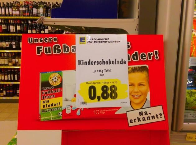 Kinder Schokolade im Sonderangebot für 0,88 Cent