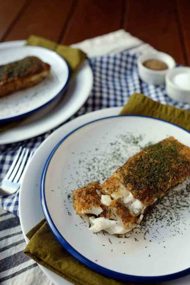 Buttery dill fried halibut two