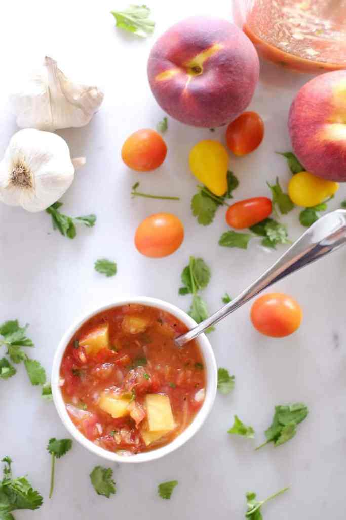 Fresh, local peaches are perfect for this summertime peach salsa. It doesn't get any better or fresher than this Paleo + Whole30 homemade salsa. Paleo + Whole30. | realsimplegood.com
