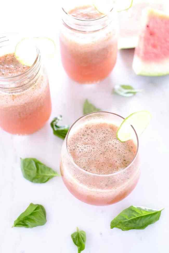 Strawberry basil watermelon agua fresca
