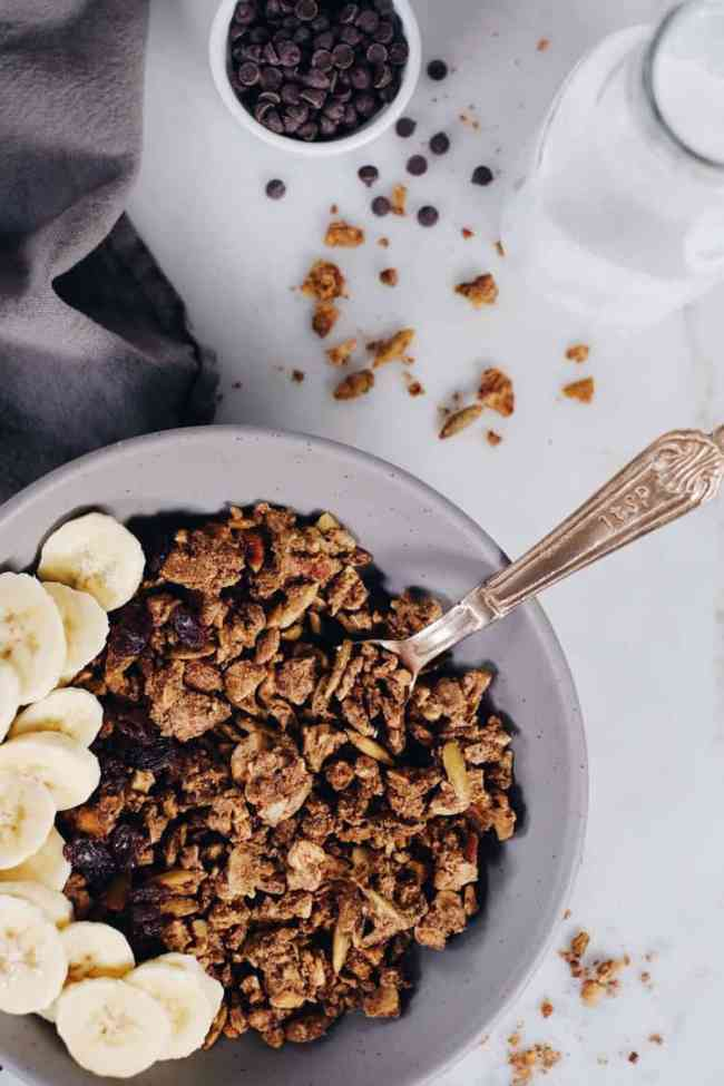 If you've never made your own granola, you must try! This Paleo cinnamon spiced granola is easy and so worth it! It's a grain-free version you'll love! Paleo, Grain-Free, Gluten-Free + Refined Sugar-Free. | realsimplegood.com
