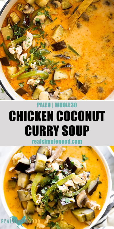 Chicken coconut curry soup split image with text in middle. In pot with spoon on top and in bowl at bottom.