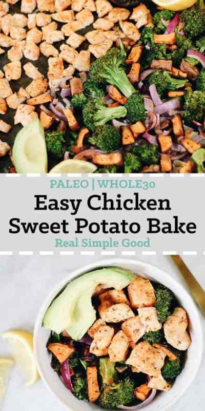 We love recipes with simple ingredients that come together easily and taste great! This Paleo and Whole30 chicken sweet potato bake is filled with vegetables and some basic seasonings to create a flavorful and filling meal. You will love the hint of citrus in this Paleo and Whole30 compliant sheet pan meal. #paleo #whole30 #sheetpan #onepan | realsimplegood.com