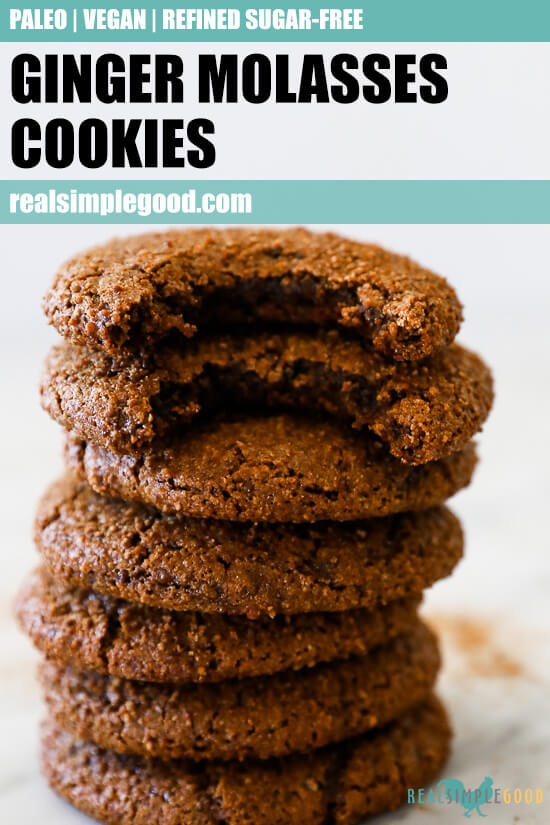 Vertical straight on image of stack of ginger molasses cookies with text overlay at top.