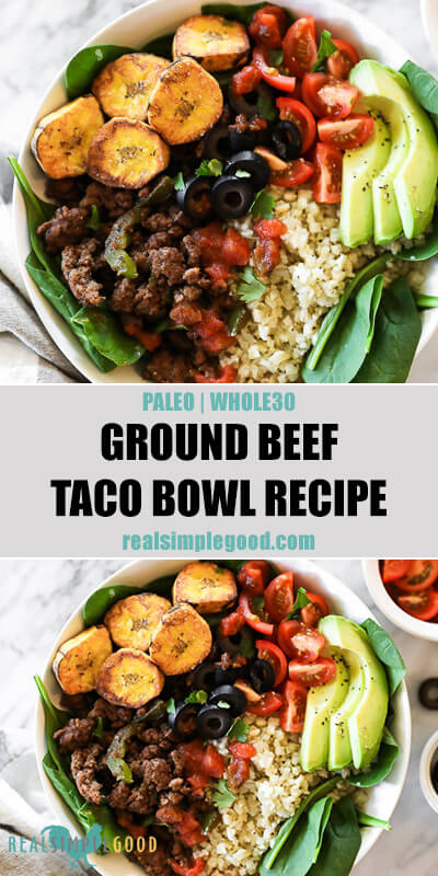 Two images of ground beef taco bowl recipe in bowls with text overlay in the middle.