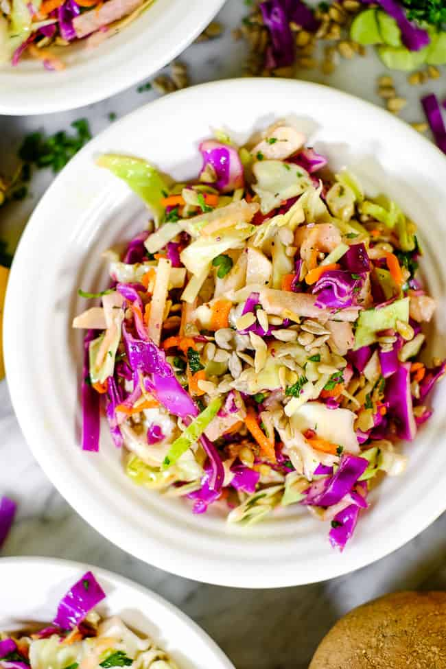 Healthy coleslaw closer up shot in a bowl.