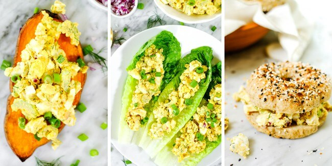 Healthy egg salad collage of photos with egg salad on sweet potato toast, in lettuce shells and on a paleo everything bagel.