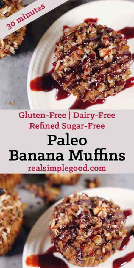 These crumbly topped Paleo banana muffins are the perfect snack or treat to grab and go and feel satiated, but not go overboard. Gluten-Free, Dairy-Free + Refined Sugar-Free. | realsimplegood.com