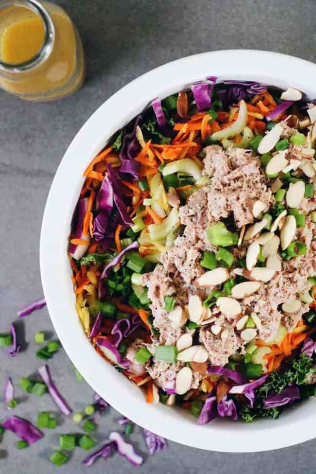 One of my favorite salads to make ahead of time and enjoy the leftovers for lunch is this Whole30 and Paleo Chinese chicken salad. It's packed with colorful veggies (cabbage, carrots, kale, onions and celery) plus easy shredded chicken and a simple dressing. Paleo + Whole30   realsimplegood.com