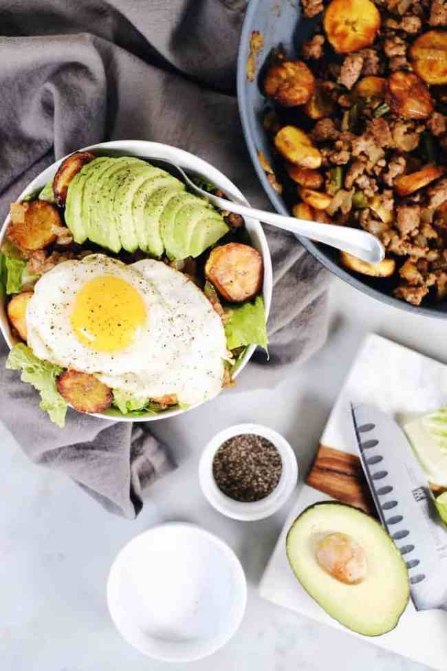 Pork + Plantains go together perfectly and with few ingredients this dish packs flavor! This Paleo + Whole30 pork and plantain bowl is simple and delicious. Paleo, Whole30, Gluten-Free + Dairy-Free.   realsimplegood.com