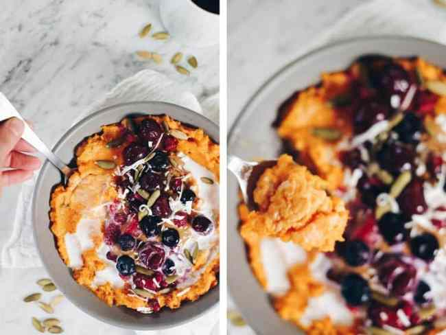 This Paleo and Whole30 Simple Sweet Potato Porridge is a great egg-free, make-ahead breakfast option! It's made with only five ingredients, too! Paleo + Whole30 | realsimplegood.com