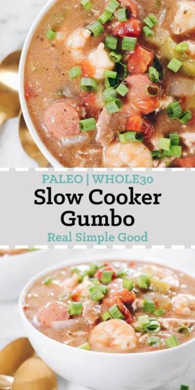 This Paleo gumbo is packed it with chicken thighs, sausage and shrimp in addition to veggies and lots of seasonings. It's also Whole30 compliant!   realsimplegood.com
