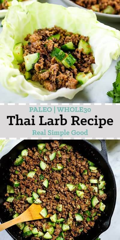 This is a Thai larb recipe with ground pork or chicken, cucumber and some seasonings. Shown in a cabbage shell and also in a cast iron skillet.