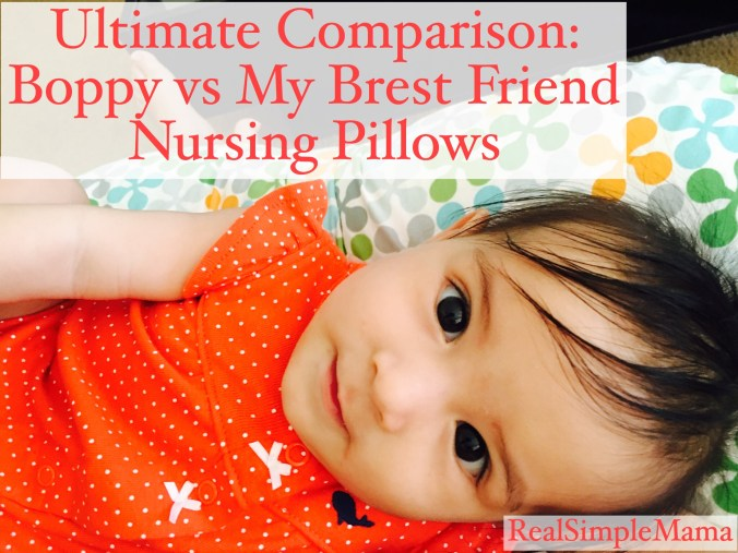 Review: The Ultimate Comparison - Boppy vs My Brest Friend - RealSimpleMama image of baby at real simple mama for the ultimate comparison for breastfeeding and nursing, between the boppy pillow and the my brest friend pillow