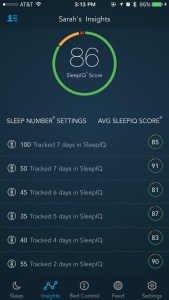A Bedsharing Mom's Review of the Sleep Number Bed - app screen - Real Simple Mama