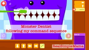 Review: Coding for Kids App by Kidlo - Real Simple Mama image screen shot command sequence monster child play game