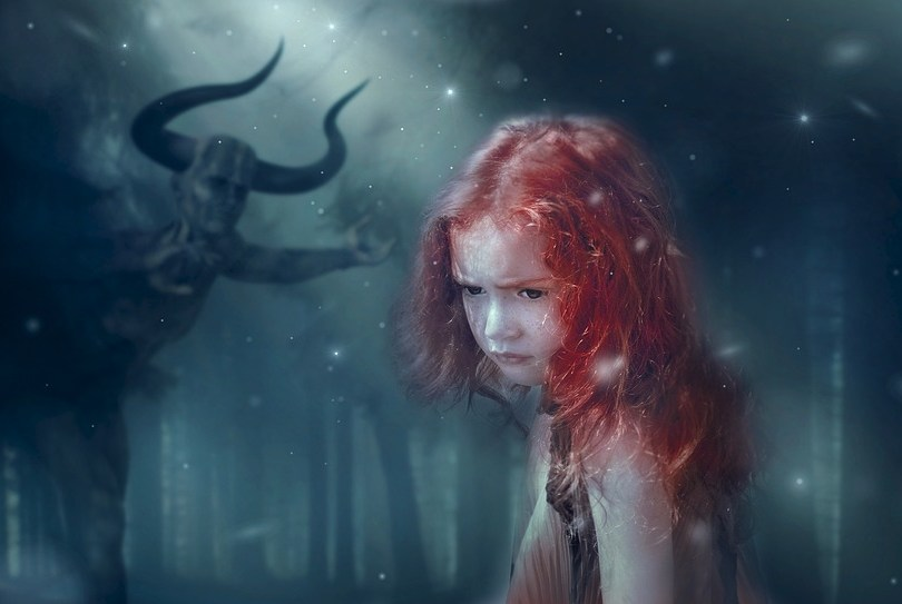 Devil with lonely girl