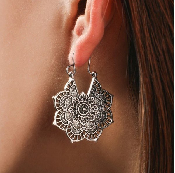 Women's Lace Mandala Drop Earrings 1