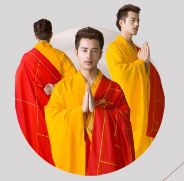 Men's Red and Yellow Style Buddhist Robe 1