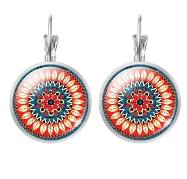 Women's Mandala Glass Earrings 3
