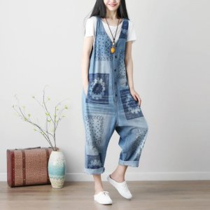Women's Mandala Print Denim Jumpsuit 14